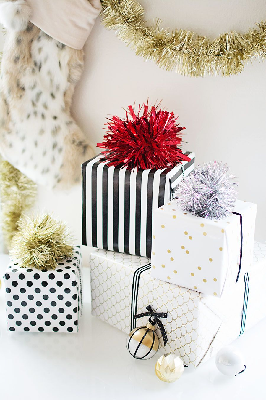 Diy tinsel pom pom gift topper gift bow gift and wraps
