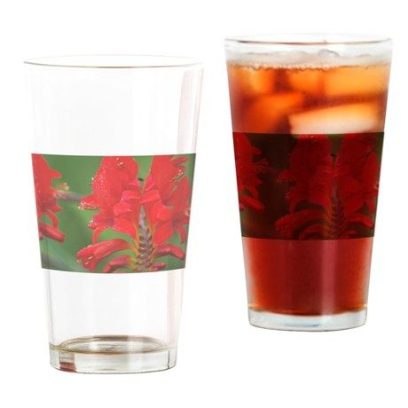 red flowers & raindrops 5 Drinking Glass on CafePress.com