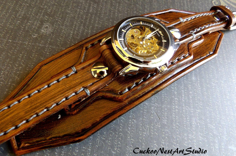 Men's Leather Cuff Steampunk Leather Watch by CuckooNestArtStudio