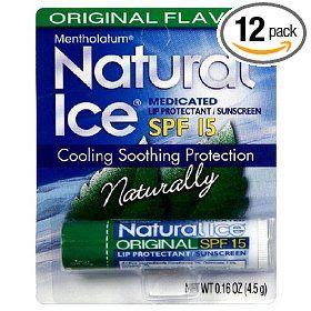 Mentholatum Natural Ice Medicated Lip Protectant SPF 15, Mentholatum 0.16-Ounce Tubes (Pack of 12), (lip balms, chapstick, lip balm, lip moisturizer, natural ice, lips, drug store, moisturizer, awesome, ice)