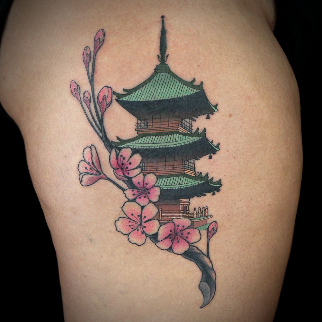 Japanese Temple Tattoo By Tim Stafford