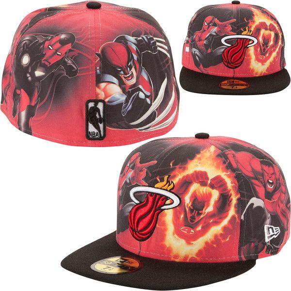 New Era Miami Heat Marvel Comics 59FIFTY Fitted Hat found on Polyvore 2da8956c92bc