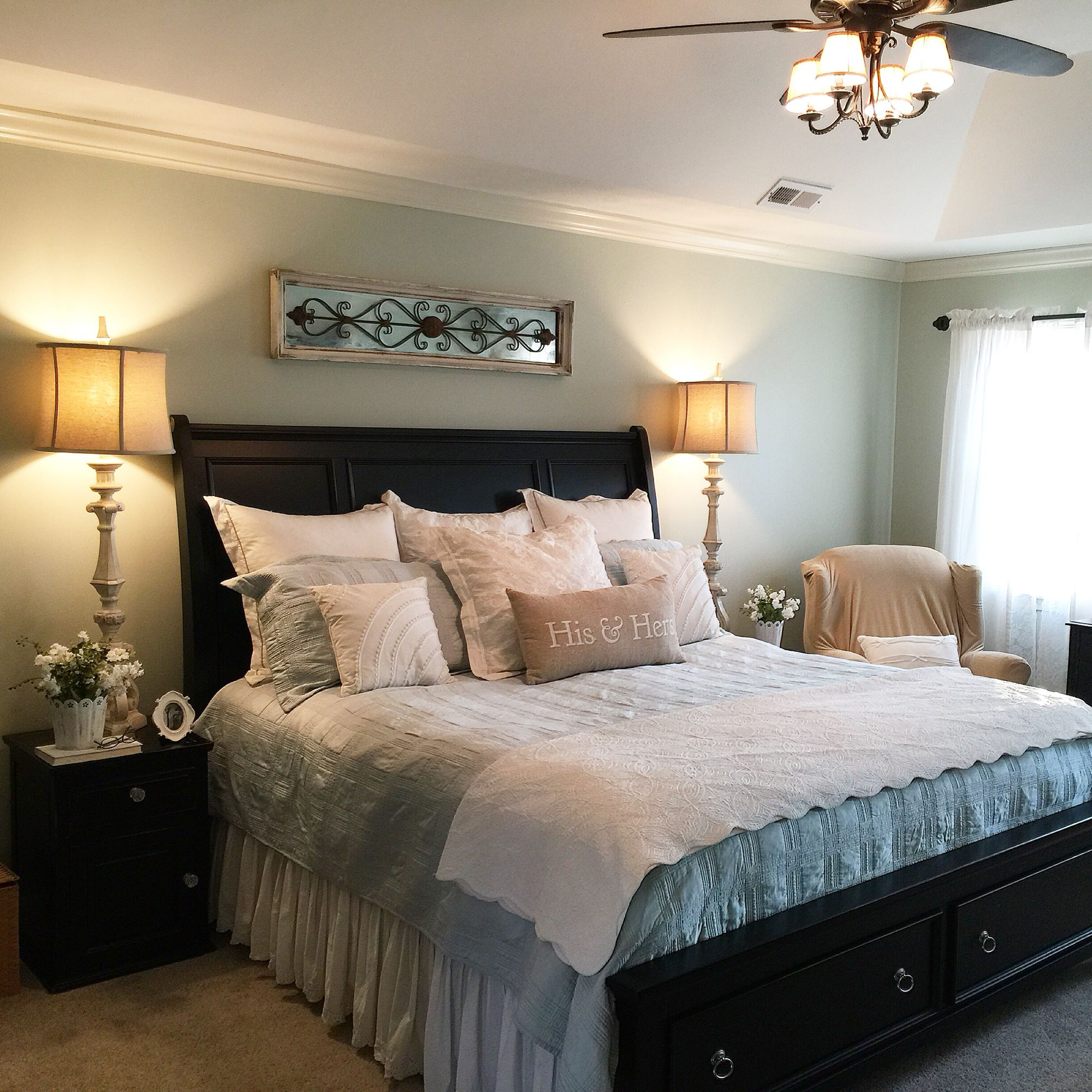 Farmhouse Bedroom with black furniture | Farmhouse bedroom ...