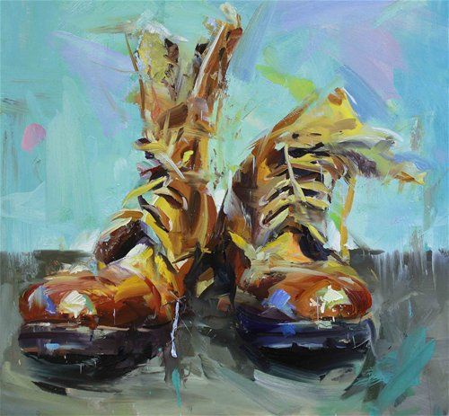 Acrylics Paints Drawing Of Shoe