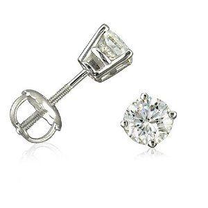 14K White Gold Round Screw-Back Diamond Stud Earrings (1