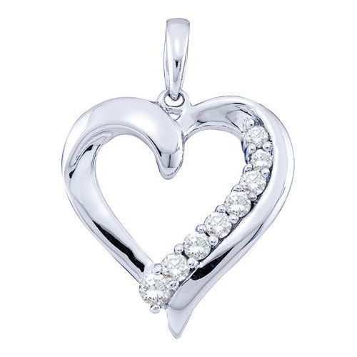 14k White Gold 0.25Ctw Diamond Ladies Heart Fashion Pendant