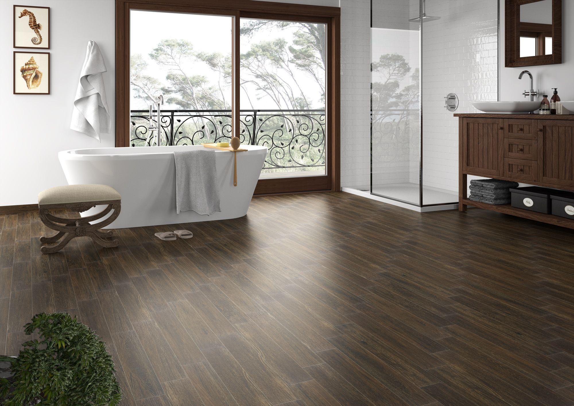 Rustic warm & inviting Autumn Oak waterproof wood look tile boasts