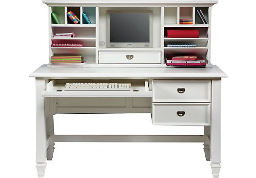 Belmar White 2 Pc Desk And Hutch Desks Colors