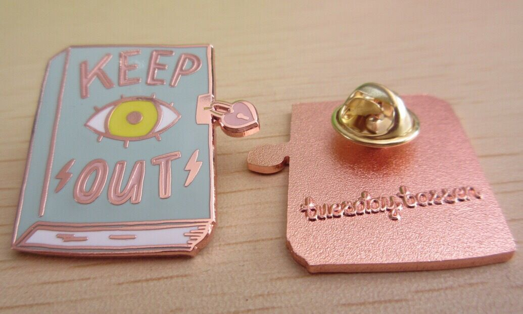 Keep Out Diary Cloisonné Pin