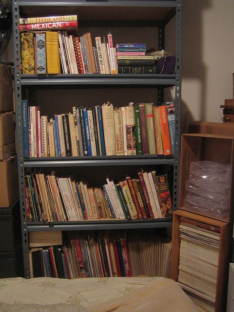 Just a picture of ALL the cookbooks my dad has in his storage room     Mables almost healthy recipes the worlds funniest recipe collection for serious cooks.  http://mablesalmosthealthyrecipes.com