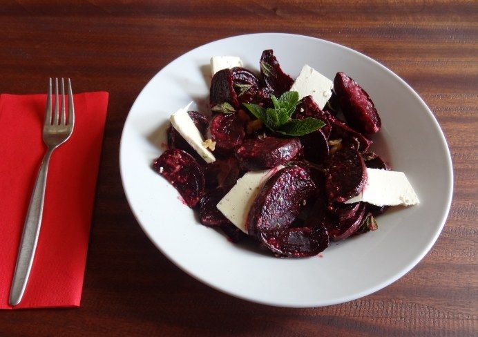 Beetroot, Feta and Mint Salad with Orange and Tahini Dressing