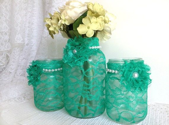 Seafoam Green 3 Piece Mason Jars Perfect For Wedding Decor Bridal Shower Home