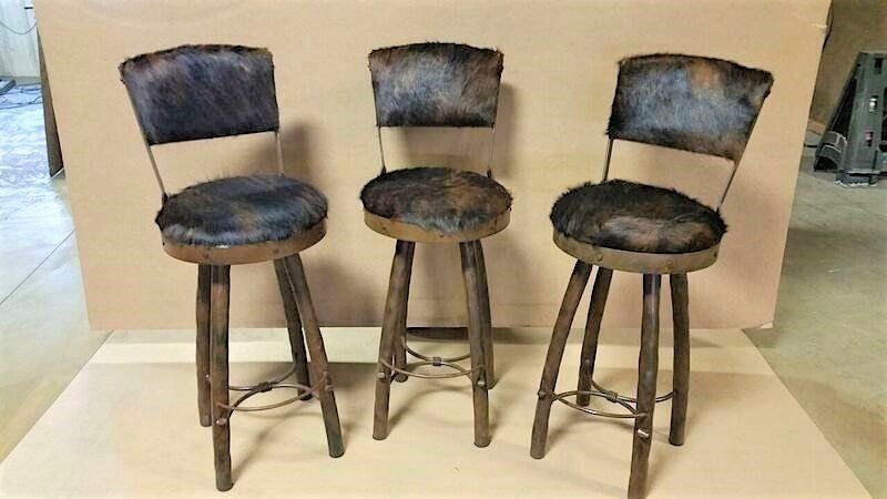 Cowhide Upholstered Bar Stools Custom Western Swivel Bar Stools