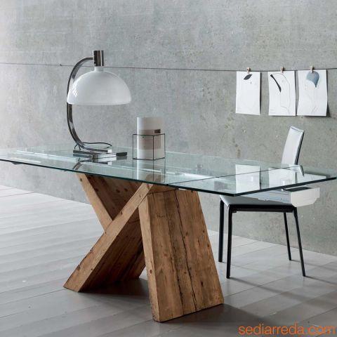 aKeo A Tavolo allungabile in legno con piano in vetro