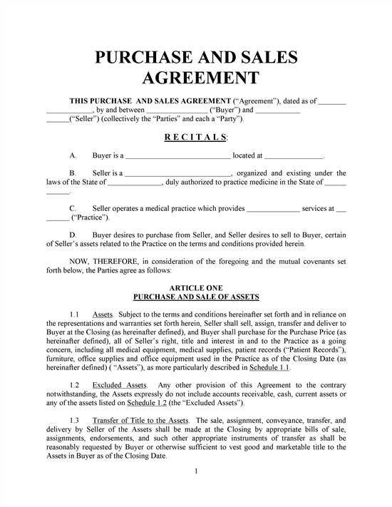 Purchase And Sales Agreement-Basic- With Exhibits REALCREFORMS - Purchase Order Agreement Template