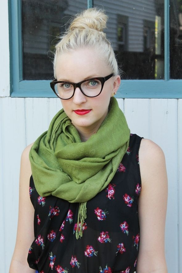 Top knot and cat eye glasses