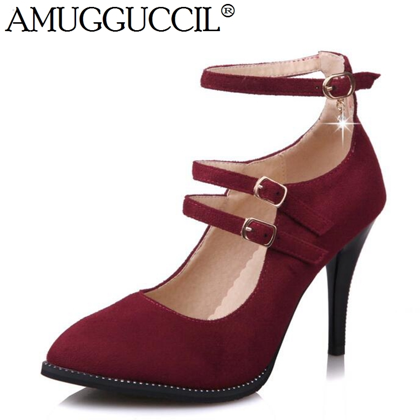 29.14$  Watch now  - 2017 New Arrival Plus Big Size 32-44 Black Red Gray Buckle Fashion Sexy High Heel Spring Female Lady Shoes Women Pumps D1075
