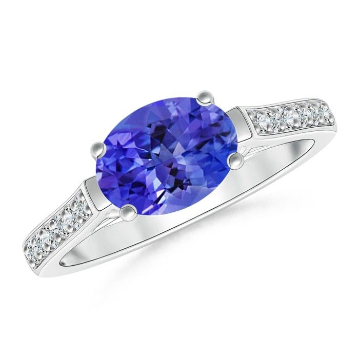 Angara Cushion Tanzanite Solitaire Ring with Diamond Accents mmtLa