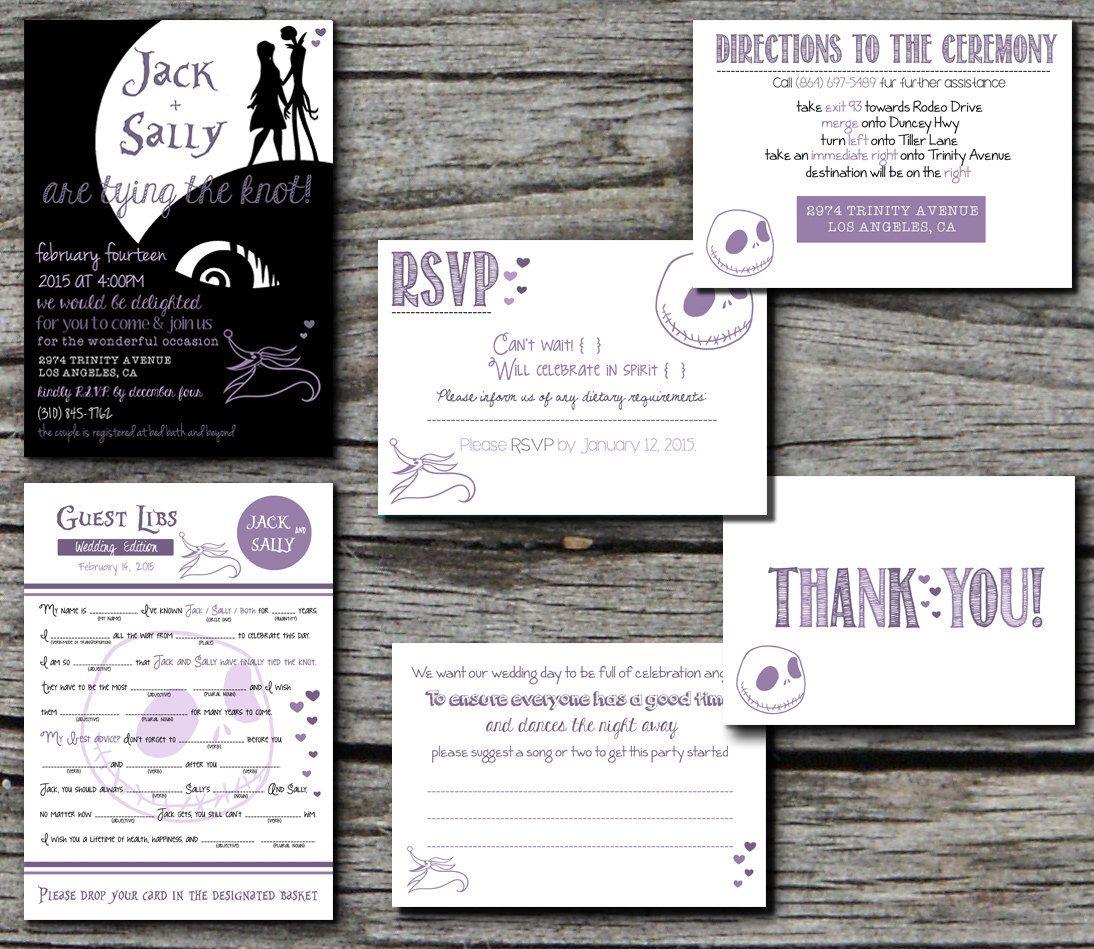 Jack Skellington Nightmare Before Christmas Wedding Invitation Set  Printable Custom DIY Wedding Save The Date RSVP Mad Libs Digital File