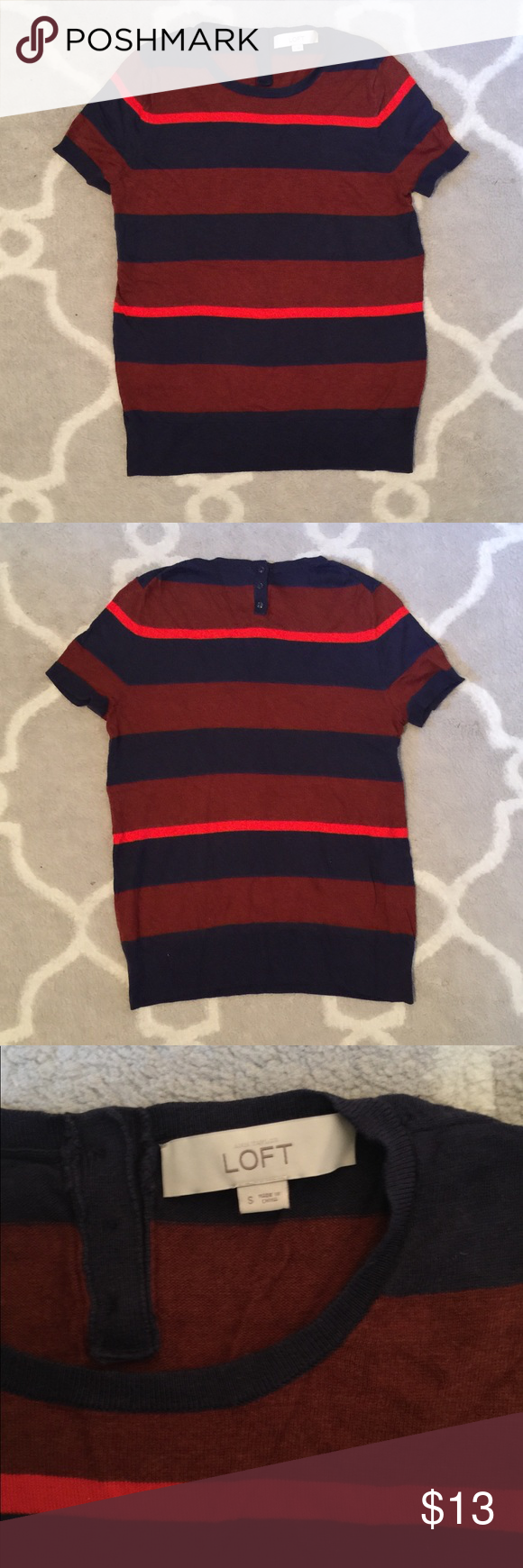 LOFT Striped Short Sleeved Sweater Comfortable and soft striped ...