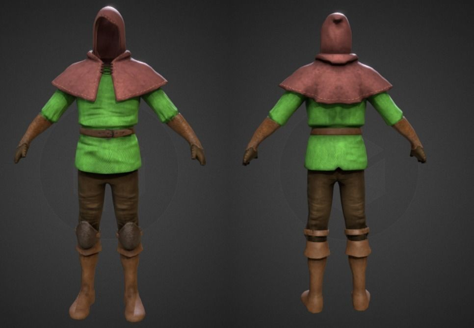 archer cloth 3d model low-poly obj 3ds fbx dae X mtl 3 in