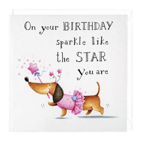 Dachshund Birthday Sparkle Greeting Card Birthday Greetings