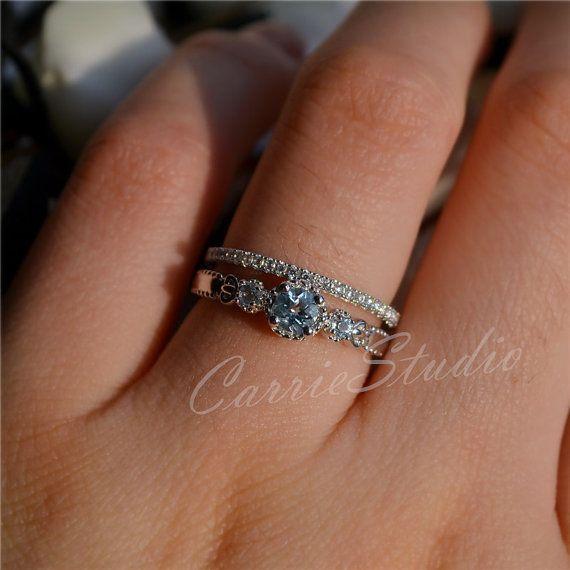 Delicate Natural Aquamarine Ring Set Aquamarine Engagement Ring