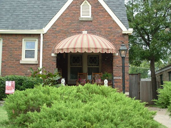 Striped Dome Awning Over A Cute Covered Porch Love The Chairs Too Awningsoftulsa Shade House Pergola Shade Cover Pergola Shade