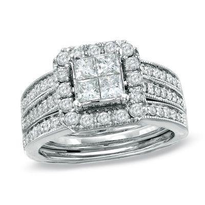 tw quad princess cut diamond bridal set in 14k white gold - Princess Cut Wedding Ring