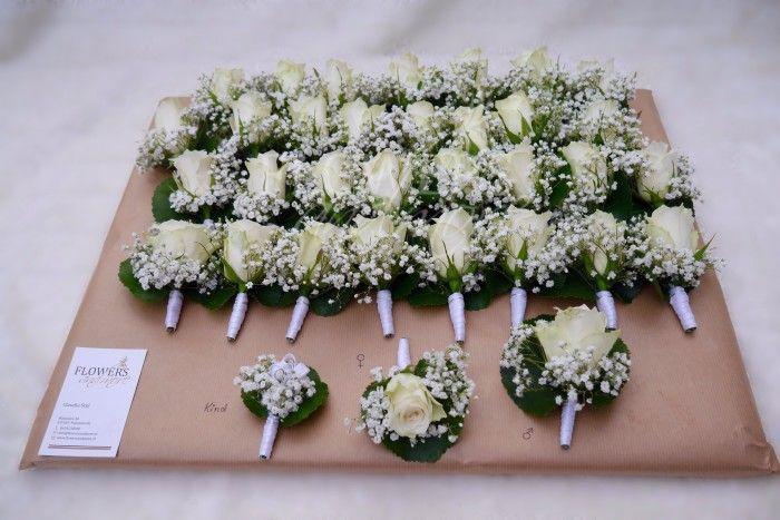 Corsage gipskruid roos