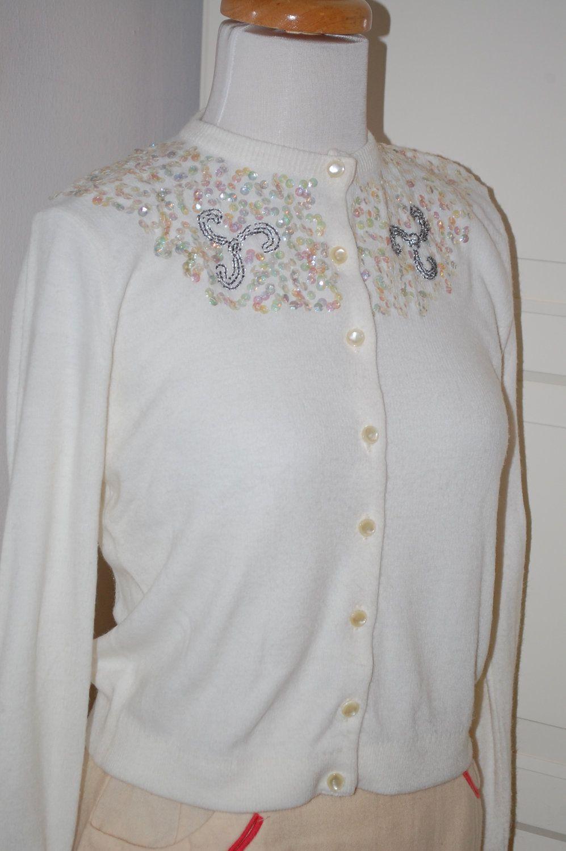 50s, 1950s Beaded Orlon Sweater, Embellished Cardigan, White ...