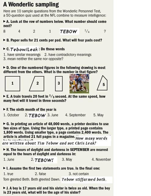 NFL Wonderlic test - never knew they had to take an IQ test