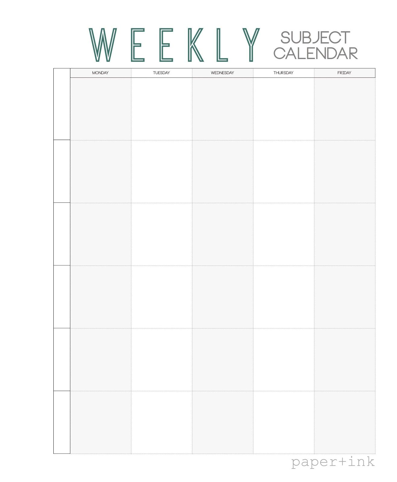 Free Weekly Subject Calendar School Calendar Weekly Planner