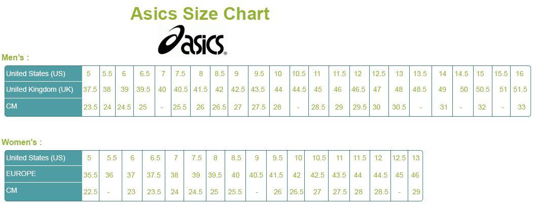 asics womens mens size conversion