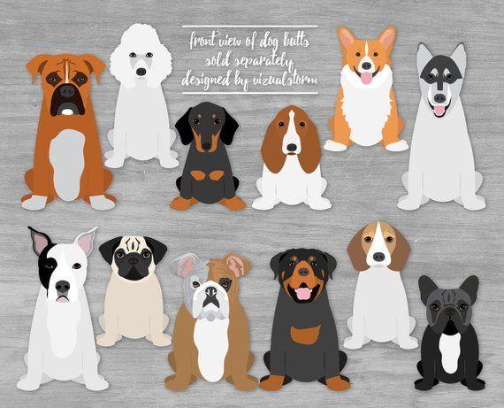 Front of Dog Butt Graphics 2 Sitting Dog Illustrations Labrador Retriever Shiba Inu Min Pin Yorki Doberman Pointer Mastiff Aussie Chihuahua