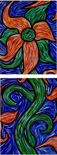 Bright Colorful Flower Abstract Painting