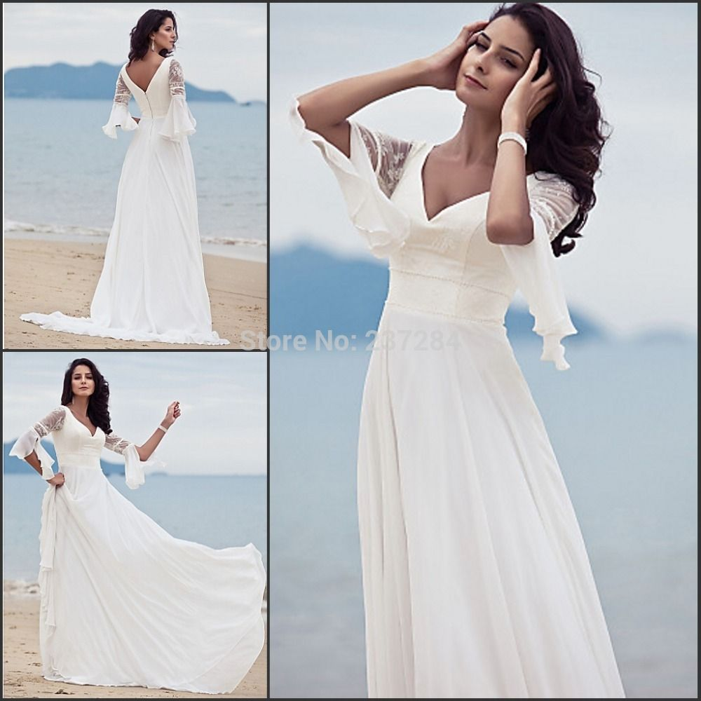 Vintage V Neck Chiffon Boho Style Hippie Beach Wedding Dresses Lace ...