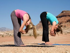 yoga standing forward bend stretches the back and