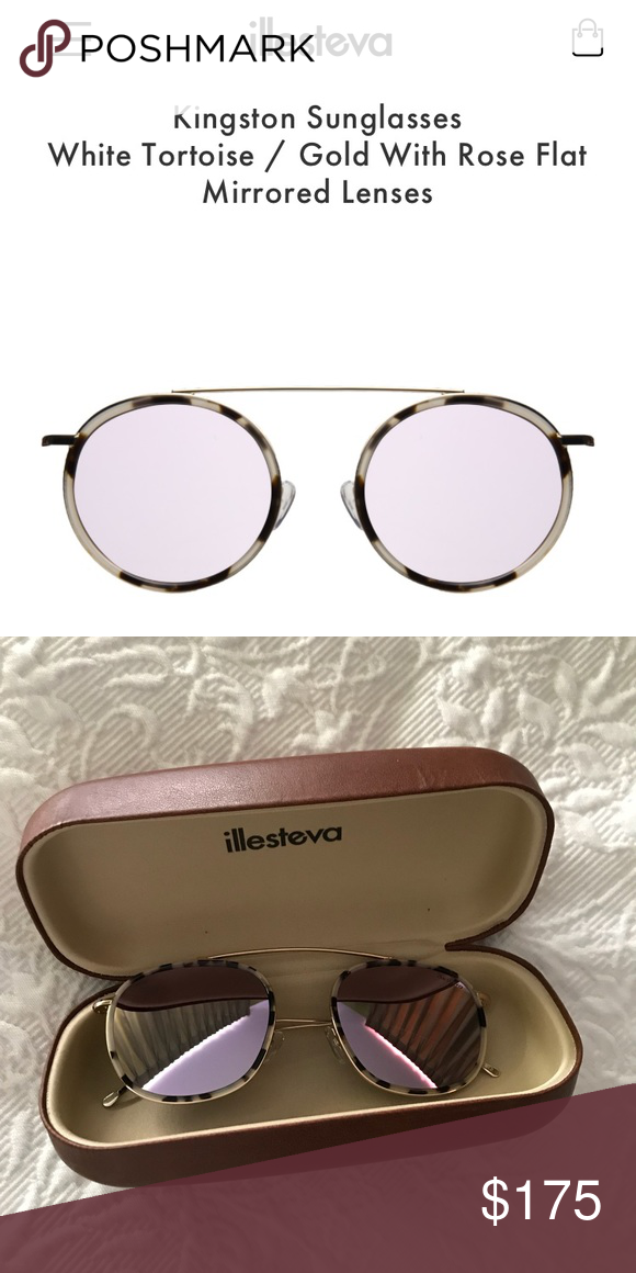 7769d254a Illesteva Mykonos Ace sunglasses White tortoise/ gold with rose flat  mirrored lenses! Never worn