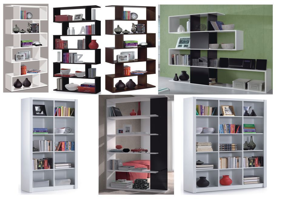 Gloss Black White Brown Room Divider Bookcase Lounge Shelving Display 234578