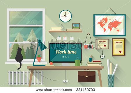 Illustration of  modern workplace in room. Creative office workspace with map. Flat minimalistic style. Flat design with long shadows. - stock vector