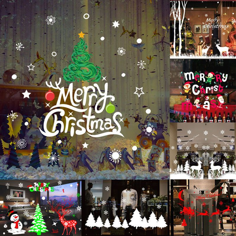 Merry Christmas Vinyl Art Home Window Store Wall Stickers Decal
