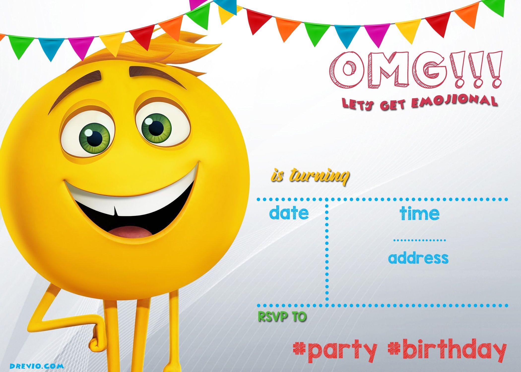 free printable emoji invitation