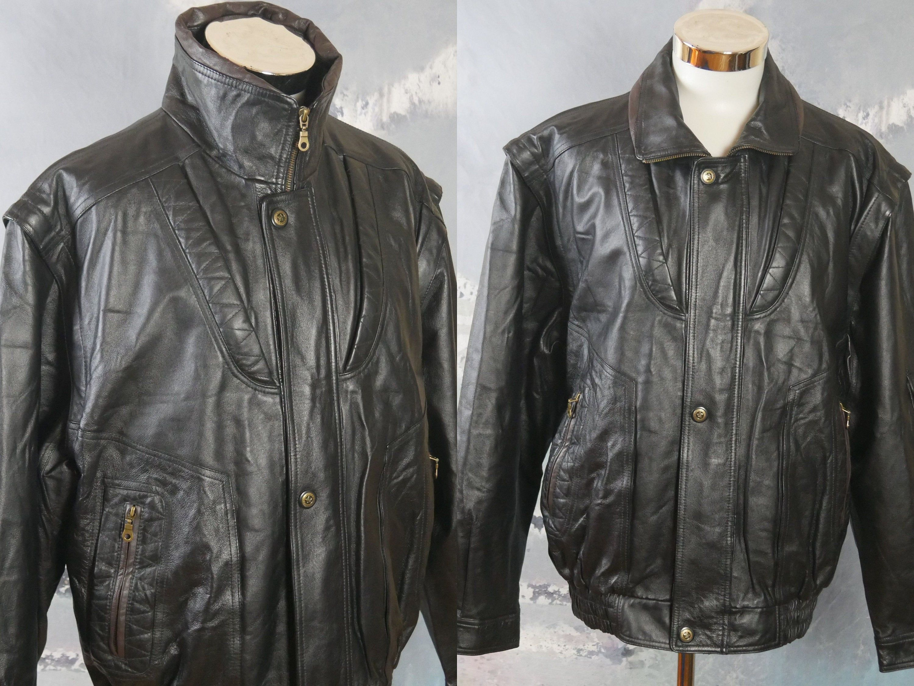 Vintage Leather Motorcycle Jacket in Metallic Gold and Black Checker Size Medium by Expose 90s Metallic Black and Gold Leather Jacket