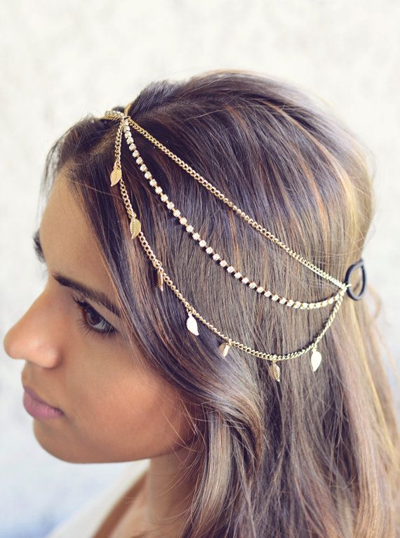New Years Eve NEW Gold Leaves Rhinestone Indian by NaynaJewelry Headpiece  Jewelry 418ada29e05