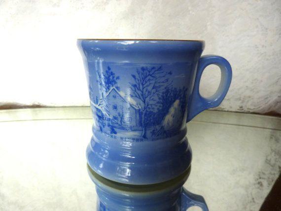 Vintage Currier & Ives Blue Mug Royal China Farmers Home in Winter Coffee Mug Round Handle Blue White China Mug Mid Century Heavy China Mug