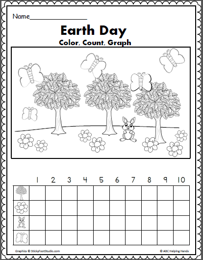 earth day math color count and graph earth day earth day preschool activities earth day. Black Bedroom Furniture Sets. Home Design Ideas