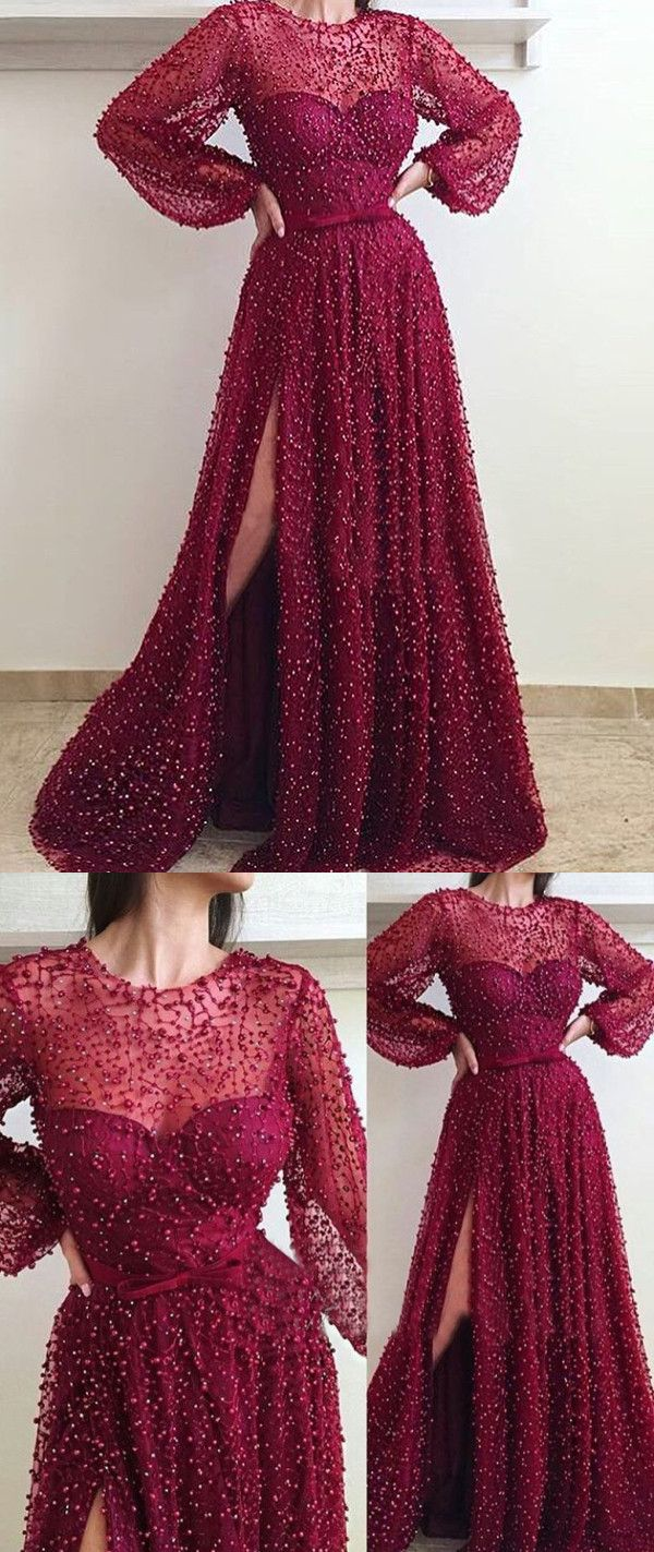 Burgundy cheap prom dress long sleeve vintage african prom dress
