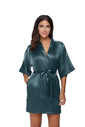 The Bund Women s Pure Colour Short Satin Kimono Robes wit ... 8357a9a5a