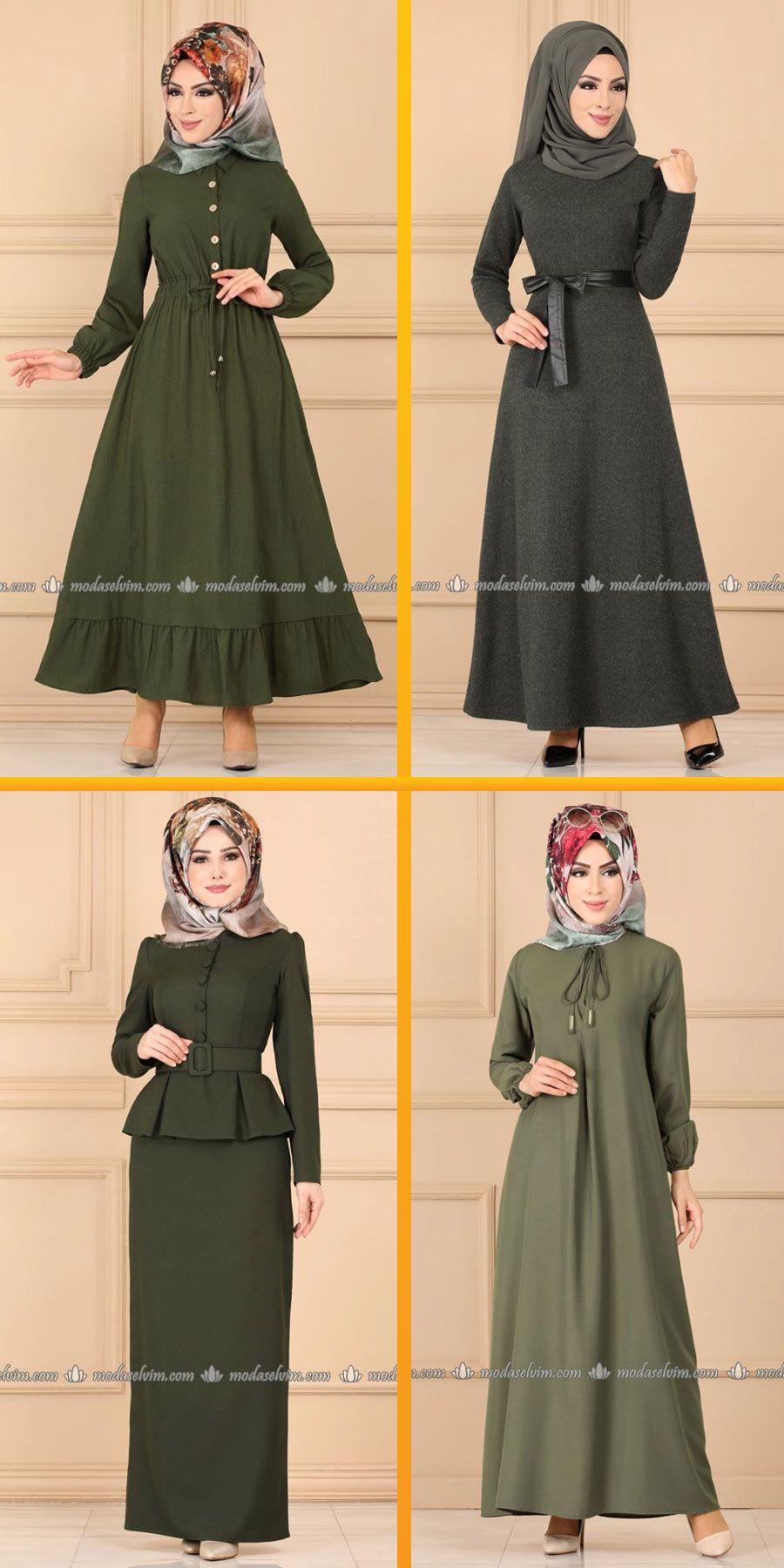 2020 Kis Modaselvim Haki Tesettur Elbise Modelleri 1 7 2020 Elbise Modelleri Elbise The Dress